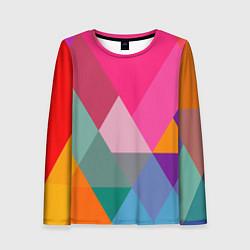 Лонгслив женский Разноцветные полигоны цвета 3D — фото 1