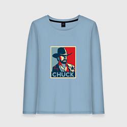 Лонгслив хлопковый женский Chuck Poster цвета мягкое небо — фото 1