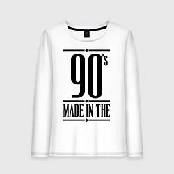 Лонгслив хлопковый женский Made in the 90s цвета белый — фото 1