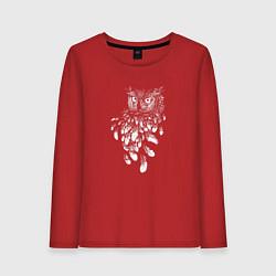 Лонгслив хлопковый женский Сова и перья цвета красный — фото 1