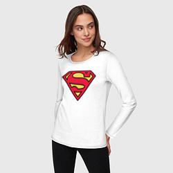 Лонгслив хлопковый женский Superman logo цвета белый — фото 2
