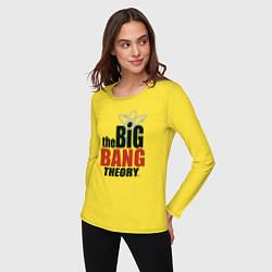 Женский хлопковый лонгслив с принтом Big Bang Theory logo, цвет: желтый, артикул: 10217864500016 — фото 2