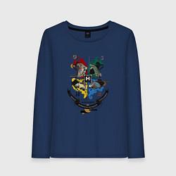 Лонгслив хлопковый женский Гарри Поттер цвета тёмно-синий — фото 1