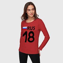 Лонгслив хлопковый женский RUS 18 цвета красный — фото 2