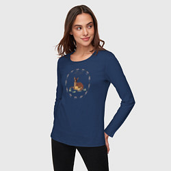Лонгслив хлопковый женский Bambi цвета тёмно-синий — фото 2