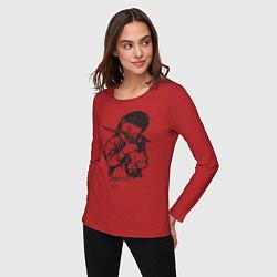 Лонгслив хлопковый женский Chelsea Grin: Demon Girl цвета красный — фото 2