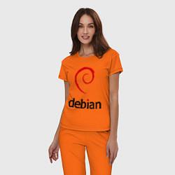 Пижама хлопковая женская Debian цвета оранжевый — фото 2