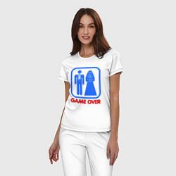 Пижама хлопковая женская Game over цвета белый — фото 2