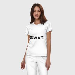 Пижама хлопковая женская S.W.A.T цвета белый — фото 2