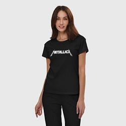 Пижама хлопковая женская Metallica цвета черный — фото 2