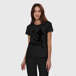 Пижама хлопковая женская Лёгкая атлетика цвета черный — фото 2