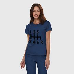 Пижама хлопковая женская Коробка передач цвета тёмно-синий — фото 2