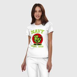 Пижама хлопковая женская Navy: Po-1967 цвета белый — фото 2