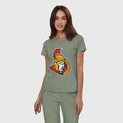 Пижама хлопковая женская Ottawa Senators цвета авокадо — фото 2