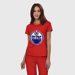 Пижама хлопковая женская Edmonton Oilers цвета красный — фото 2