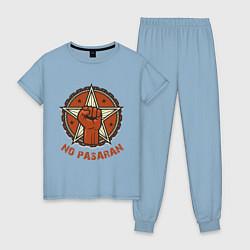 Пижама хлопковая женская No Pasaran цвета мягкое небо — фото 1