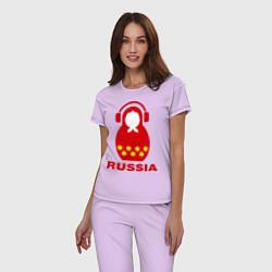 Пижама хлопковая женская Russia dj цвета лаванда — фото 2