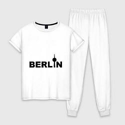 Пижама хлопковая женская Берлин цвета белый — фото 1