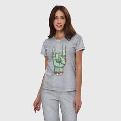 Пижама хлопковая женская Zombie Rock Hand цвета меланж — фото 2