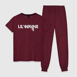 Пижама хлопковая женская Lil Wayne цвета меланж-бордовый — фото 1