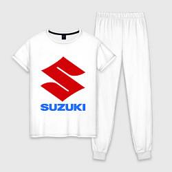 Пижама хлопковая женская Suzuki цвета белый — фото 1