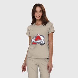 Пижама хлопковая женская Colorado Avelanche: Sakic цвета миндальный — фото 2