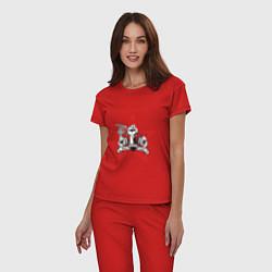 Пижама хлопковая женская World freedom famous цвета красный — фото 2