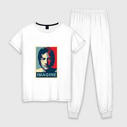 Пижама хлопковая женская Lennon Imagine цвета белый — фото 1