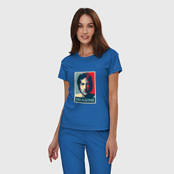 Пижама хлопковая женская Lennon Imagine цвета синий — фото 2