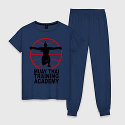 Пижама хлопковая женская Mauy Thai Training Academy цвета тёмно-синий — фото 1