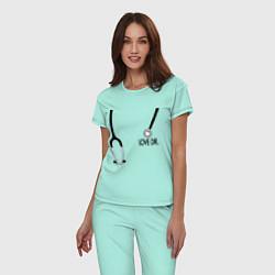Пижама хлопковая женская Love Dr. House цвета мятный — фото 2