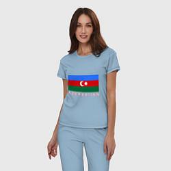 Пижама хлопковая женская Азербайджан цвета мягкое небо — фото 2