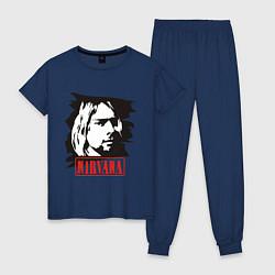 Пижама хлопковая женская Nirvana: Kurt Cobain цвета тёмно-синий — фото 1