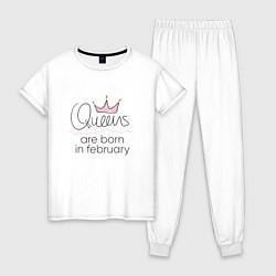 Пижама хлопковая женская Королевы рождаются в феврале цвета белый — фото 1
