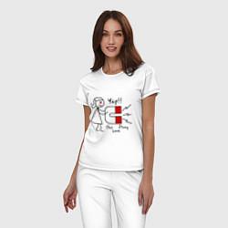 Пижама хлопковая женская Yap: Our love story цвета белый — фото 2