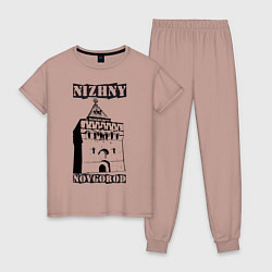 Пижама хлопковая женская Нижний Новгород цвета пыльно-розовый — фото 1