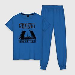 Пижама хлопковая женская Санкт-Петербург цвета синий — фото 1
