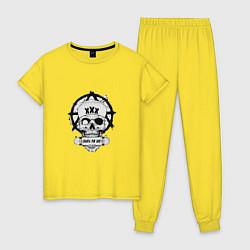 Пижама хлопковая женская Skate or die цвета желтый — фото 1
