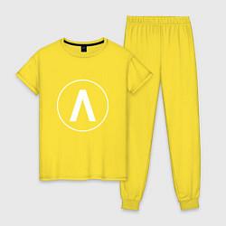 Пижама хлопковая женская Archive цвета желтый — фото 1
