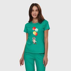 Пижама хлопковая женская Енот на шариках цвета зеленый — фото 2