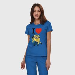 Пижама хлопковая женская I love Minion цвета синий — фото 2