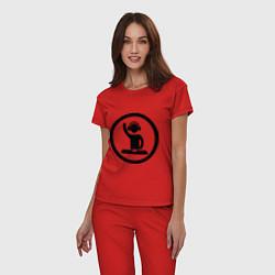 Пижама хлопковая женская Dj за пультом цвета красный — фото 2