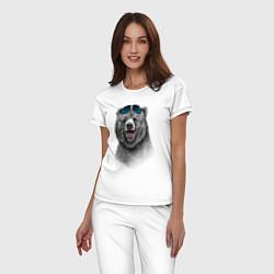 Пижама хлопковая женская Медведь в очках цвета белый — фото 2