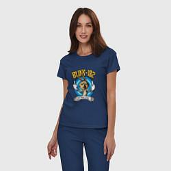 Пижама хлопковая женская Blink-182: Fuck you цвета тёмно-синий — фото 2
