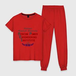 Пижама хлопковая женская NRU MPEI цвета красный — фото 1