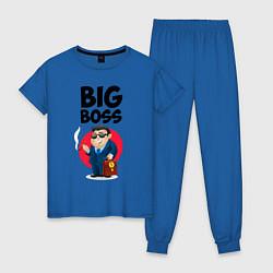 Пижама хлопковая женская Big Boss / Начальник цвета синий — фото 1