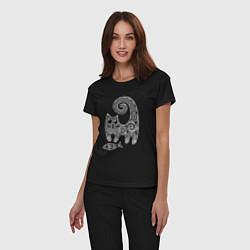 Пижама хлопковая женская Кот3 цвета черный — фото 2