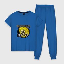Пижама хлопковая женская Iron Maiden Killers цвета синий — фото 1
