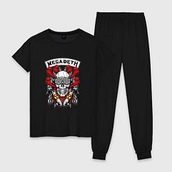 Пижама хлопковая женская Megadeth Rocker цвета черный — фото 1