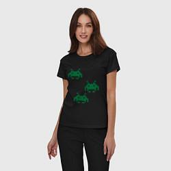 Пижама хлопковая женская Space invaders 8 bit цвета черный — фото 2